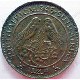 Quarter Penny, South Africa, 1945, Brass