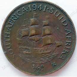 Halfpenny, South Africa, 1941, Brass