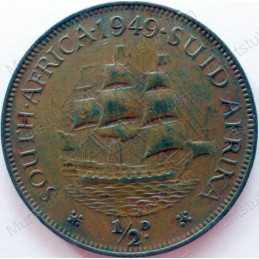 Halfpenny, South Africa, 1949, Brass