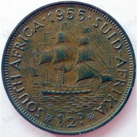 Halfpenny, South Africa, 1955, Brass