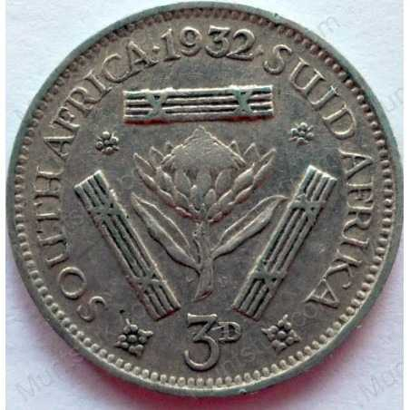 Threepence, South Africa, 1932, Silver