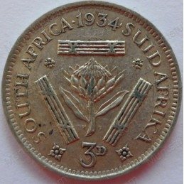 Threepence, South Africa, 1934, Silver