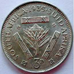 Threepence, South Africa, 1935, Silver