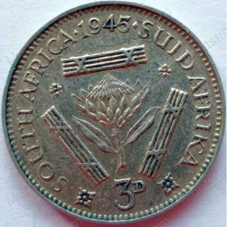 Threepence, South Africa, 1945, Silver