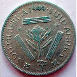 Threepence, South Africa, 1949, Silver