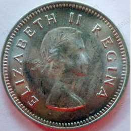 Threepence, South Africa, 1954, Silver