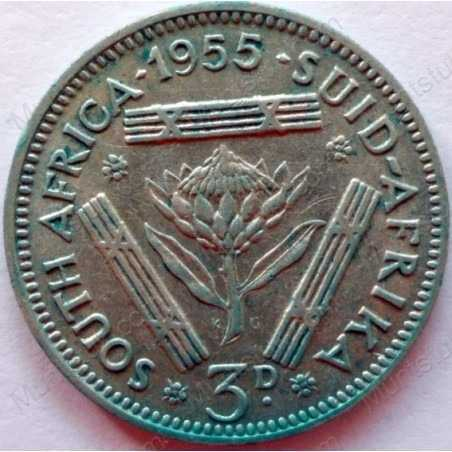 Threepence, South Africa, 1955, Silver