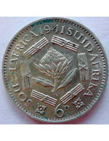 SixPence, South Africa, 1941, Silver