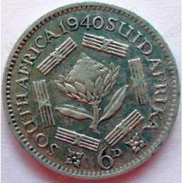 SixPence, South Africa, 1940, Silver