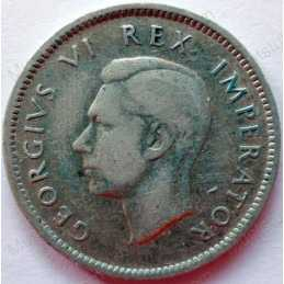 SixPence, South Africa, 1945, Silver