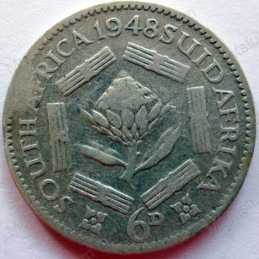 SixPence, South Africa, 1948, Silver