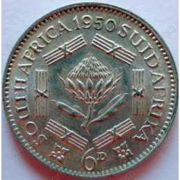 SixPence, South Africa, 1950, Silver