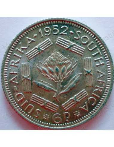 SixPence, South Africa, 1952, Silver