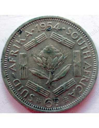 SixPence, South Africa, 1954, Silver