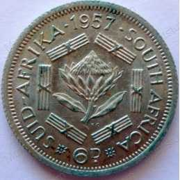 SixPence, South Africa, 1957, Silver