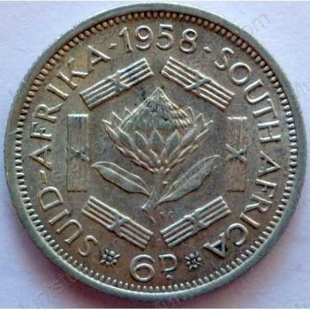 SixPence, South Africa, 1958, Silver