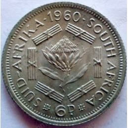 SixPence, South Africa, 1960, Silver