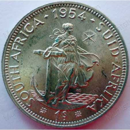 Shilling, South Africa, 1954, Silver
