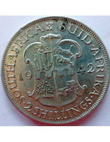Two Shillings, South Africa, 1942, Silver