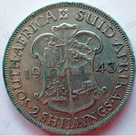 Two Shillings, South Africa, 1943, Silver