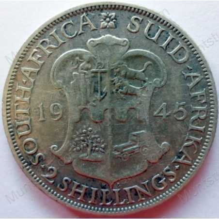 Two Shillings, South Africa, 1945, Silver