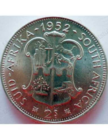 Two Shillings, South Africa, 1952, Silver