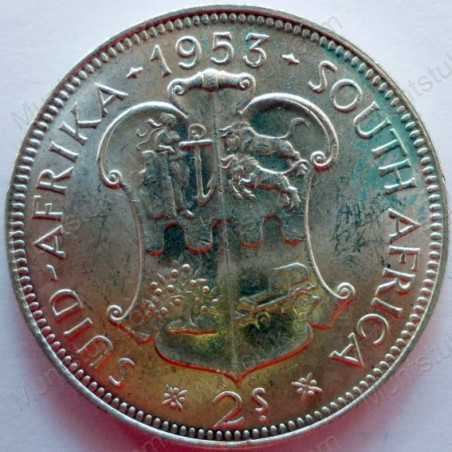 Two Shillings, South Africa, 1953, Silver