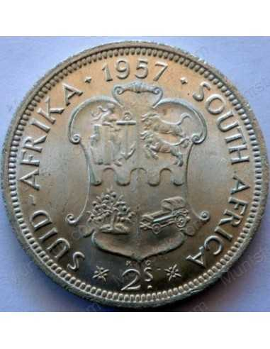 Two Shillings, South Africa, 1957, Silver