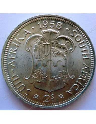 Two Shillings, South Africa, 1958, Silver