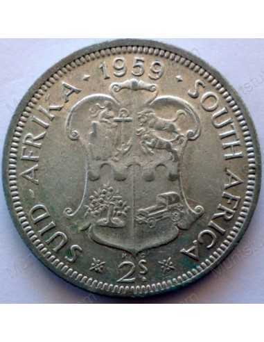 Two Shillings, South Africa, 1959, Silver