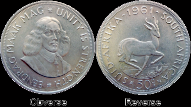 The Obverse and Reverse of a coin.